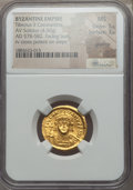 Ancients:Byzantine, Ancients: Tiberius II Constantine (578-582). AV solidus (4.50 gm).NGC MS 5/5 - 3/5, graffito....