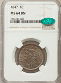 1847 1C MS64 Brown NGC. CAC. NGC Census: (55/27). PCGS Population: (72/22). CDN: $550 Whsle. Bid for problem-free NGC/PC...