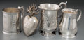 Silver Holloware, British:Holloware, Four English and American Silver Cups with French Silver-PlatedHeart Pendant, 18th-19th centuries. Marks: (various). 4-1/8 ...(Total: 4 Items)
