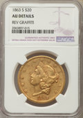 Liberty Double Eagles, 1863-S $20 Small S -- Reverse Graffiti -- NGC Details. AU. Breen-7217. NGC Census: (145/675). PCGS Population: (69/304). CD...