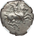 Ancients:Greek, Ancients: CALABRIA. Taras. Ca. 325 BC. AR stater or didrachm (7.79gm). NGC Choice XF 4/5 - 4/5....