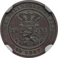 Netherlands East Indies, Netherlands East Indies: Willem III Proof 1/2 Cent 1855 PR63 BrownNGC,...