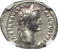 Ancients:Roman Imperial, Ancients: Tiberius (AD 14-37). AR denarius (3.73 gm). NGC Choice XF4/5 - 4/5....