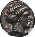 Ancients:Greek, Ancients: LUCANIA. Metapontum. Ca. 400-330 BC. AR stater or nomos(7.78 gm). NGC Choice XF 5/5 - 4/5, Fine Style....