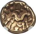 Ancients:Celtic, Ancients: GAUL. Ambiani. Ca. 59-50 BC. AV stater (5.91 gm). NGC XF4/5 - 4/5....