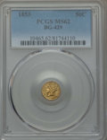 California Fractional Gold , 1853 50C Liberty Round 50 Cents, BG-429, Low R.4, MS62 PCGS. PCGSPopulation: (42/9). NGC Census: (16/7). ...