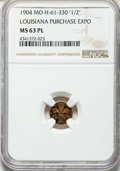 Expositions and Fairs, 1904 G50C Louisiana Purchase Expo Token, 10 Stars, MissouriH-61-330, MS63 Prooflike NGC....