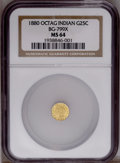 California Fractional Gold: , 1880 25C Indian Octagonal 25 Cents, BG-799X, R.3, MS64 NGC. PCGSPopulation (58/15). (#10650)...