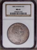Coins of Hawaii: , 1883 $1 Hawaii Dollar MS61 NGC. PCGS Population (8/50). NGC Census:(7/52). Mintage: 500,000. (#10995)...