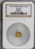 California Fractional Gold: , 1876 25C Indian Round 25 Cents, BG-879, R.4, MS63 NGC. NGC Census:(2/10). PCGS Population (21/36). (#10740)...