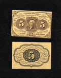 Fractional Currency:First Issue, Fr. 1231SP 5c Narrow Margin Specimen Pair First Issue Choice New orbetter. This is a very attractive first issue narrow mar... (Total:2 notes)