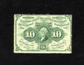 Fractional Currency:First Issue, Fr. 1241 10c First Issue New. A little too much handling is seen on this scarce perforated no monogram note. The perforatio...