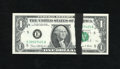 Error Notes:Ink Smears, Fr. 1907-E $1 1969D Federal Reserve Note. Gem Uncirculated. Ajet-black streak of ink that is 13mm at its widest point trave...