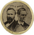 Political:Ferrotypes / Photo Badges (pre-1896), Hayes & Wheeler: A Scarce 1876 Jugate Campaign FerrotypeClothing Button. ...