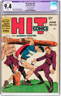 Hit Comics #22 Mile High Pedigree - Trimmed (Quality, 1942) CGC Apparent NM 9.4 White pages