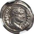 Ancients:Roman Imperial, Ancients: Maximian, first reign (AD 286-305). AR argenteus (3.27gm). NGC MS 3/5 - 4/5, deposits....