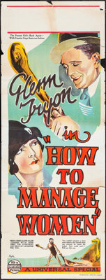 """How to Handle Women (Universal, 1928). Australian Pre-War Daybill (15"""" X 39.5""""). Comedy. Retitled How to Manag..."""