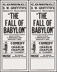 The Fall of Babylon/Charlie Chaplin in Carmen Combo (David W. Griffith Corp., R-Late 1920s). Broadsides (5) Identical (1...