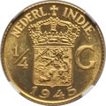 Netherlands East Indies, Netherlands East Indies: Dutch Administration gold Proof Pattern1/4 Gulden 1945 PR66 Cameo NGC,...