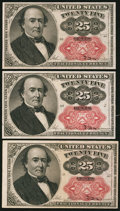Fractional Currency:Fifth Issue, Fr. 1309 25¢ Fifth Issue Three Examples About New or Better.. ... (Total: 3 notes)