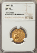 Indian Half Eagles: , 1909 $5 MS63+ NGC. NGC Census: (868/453 and 7/11+). PCGSPopulation: (936/545 and 10/49+). CDN: $1,000 Whsle. Bid forprobl...