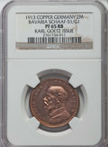 German States:Bavaria, German States: Bavaria. Ludwig III copper Proof Pattern 2 Mark 1913PR65 Red and Brown NGC,...