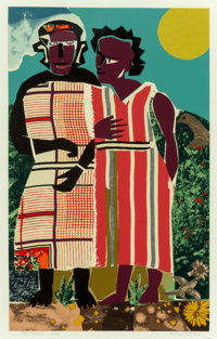Romare Howard Bearden (American, 1911-1988) Two Women, 1981-82 Screenprint in colors 23 x 14-1/8