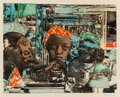 Fine Art - Work on Paper:Print, Romare Howard Bearden (American, 1911-1988). The Train,1974. Etching and aquatint in colors. 17-1/2 x 22 inches (44.5 x...