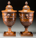 Decorative Arts, British:Other , A Pair of George III-Style Carved Fruitwood Knife Urns, lastquarter 19th century. 24 inches high (61.0 cm). ... (Total: 2Items)