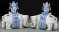 Asian:Chinese, A Pair of Chinese Blue and White Porcelain Double Gourd Vases onElephants. 11-5/8 inches high (29.5 cm). ... (Total: 2 Items)