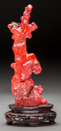 Asian:Other, A Lightly Carved Coral Branch on Base. 8-1/2 inches high (21.6 cm)(excluding base). 576 grams . Special Note:. Prospectiv...