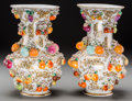Ceramics & Porcelain, A Pair of Dresden Schneeballen Painted Porcelain Vases, late 19th century. Marks: (crossed swords). 11-1/2 inches high (29.2... (Total: 2 Items)