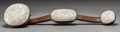 Asian:Chinese, A Large Chinese Pale Jade and Silver Inlaid Hardwood Ruyi Scepter. 22-1/4 inches long (56.5 cm). ...