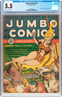 Jumbo Comics #31 (Fiction House, 1940) CGC FN- 5.5 Cream to off-white pages
