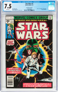 Star Wars #1 35 Cent Price Variant (Marvel, 1977) CGC VF- 7.5 White pages