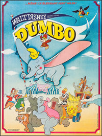 """Dumbo (Walt Disney Productions, R-Late 1970s). French Grande (45.5"""" X 61""""). Animation"""