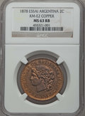 Argentina, Argentina: Republic copper Essai 2 Centavos 1878 MS63 Red and BrownNGC,...