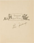Baseball Collectibles:Others, 1929 Lou Gehrig Signed Christmas Card from The Beatrice WadeCollection....