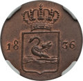 Netherlands East Indies, Netherlands East Indies: Dutch Colony Specimen Duit 1836 MS64 BrownNGC,...