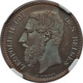 Belgium, Belgium: Leopold II copper Proof Essai Franc 1866 PR66 Brown NGC...