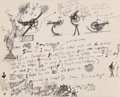 Fine Art - Work on Paper:Drawing, Jean Tinguely (Swiss, 1925-1991). Untitled (Dear Sam...),circa 1965. Ink and pencil on paper. 12-1/2 x 15-1/2 inches (3...