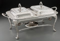 Silver Holloware, British, An English Silver-Plated Chafing Dish, 20th century. Marks: MADEIN ENGLAND. 10-1/4 h x 20-1/2 w x 12 d inches (26.0 x 5...
