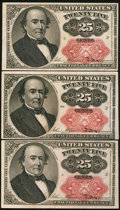 Fractional Currency:Fifth Issue, Fr. 1309 25¢ Fifth Issue Three Examples.. ... (Total: 3 notes)