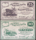 Obsoletes By State:Ohio, Cuyahoga Falls, OH- W.A. Hanford at Summit County Bank 10¢; 25¢1862 Remainders. ... (Total: 2 notes)
