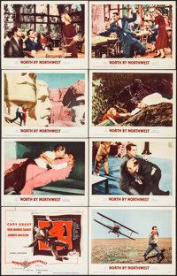 "North by Northwest (MGM, 1959). Lobby Card Set of 8 & Lobby Card (11"" X 14""). Hitchcock. ... (Total: 9..."