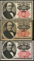 Fractional Currency:Fifth Issue, 25¢ Fifth Issue Fr. 1308 and 1309.. ... (Total: 3 notes)