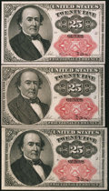 Fractional Currency:Fifth Issue, Fr. 1309 25¢ Fifth Issue About New or Better Three Examples.. ...(Total: 3 notes)
