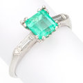 Estate Jewelry:Rings, Emerald, Diamond, Platinum Ring. . ...