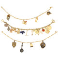 Estate Jewelry:Bracelets, Multi-Stone, Enamel, Gold, Silver, Vermeil, Gold-Filled CharmBracelets. . ... (Total: 3 Items)