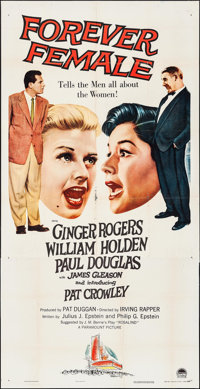 """Forever Female & Other Lot (Paramount, 1953). Three Sheets (2) (41"""" X 79"""" & 41"""" X 80""""). Come..."""